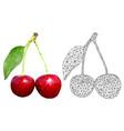 cherries polygonal 3d vector image