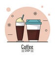 colorful poster of coffee shop with disposable vector image