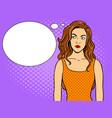 thoughtful girl pop art vector image