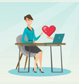 young woman using a laptop online dating vector image vector image