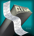 2014 Tall Wavy Calendar Money vector image vector image