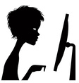 Black silhouette of a watching person with a vector image vector image