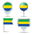 Map pins with flag of Gabon vector image