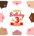 Children celebrating third year birthday vector image
