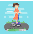 flat style of young woman riding an two-wheeled vector image