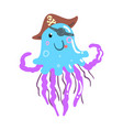 funny cartoon jellyfish pirate in a hat and eye vector image