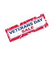 grunge rubber stamp with veteran day sale text on vector image
