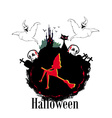 Halloween invitation or background with spooky vector image