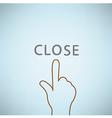 Hand clicking close symbol icon Concept EPS10 vector image