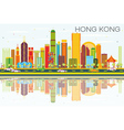 Abstract Hong Kong Skyline with Color Buildings vector image