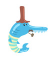 funny cartoon blue fish with long nose and vector image