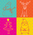 pop art christmas elements outline vector image