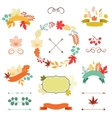 Autumn leaves set of wreath ribbons and labels vector image