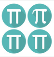 Mathematic Pi icon flat set vector image