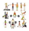 set of people in gym characters isolated on vector image