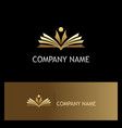 student open book education gold logo vector image