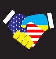Symbol sign handshake USA and Ukraine vector image