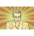 Thinking businessman pop art retro vector image