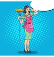 Pop Art Housewife Woman Cleaning House with Mop vector image
