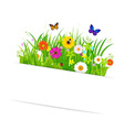 Paper Sticky With Grass And Flowers vector image vector image