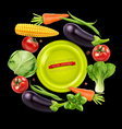 Vegetables in a circle on black background vector
