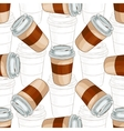 Seamless pattern coffee to go scetch and color vector image