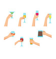 cartoon human hands holding glasses set vector image