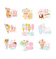 ice cream labels set colorful hand drawn vector image
