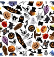 Halloween cartoon seamless pattern background vector image vector image