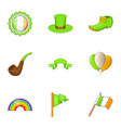irish celebration icons set cartoon style vector image