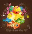 mid autumn carp lantern festival blossom vector image