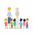 children with teacher in museum - cartoon people vector image