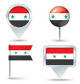Map pins with flag of Syria vector image