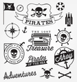 Pirate Design Elements in Vintage Style vector image
