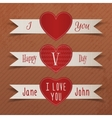 Set of Valentines Day Heart Labels with Ribbons vector image