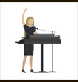 woman playing synthesizer in musical group vector image