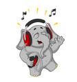 cartoon listening to music on headphones vector image