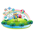 An island with an amusement park vector image