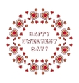 Circular ornament with doodle heart shaped vector image