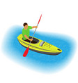kayaker character paddling on a kayak sports vector image