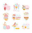 milk shake labels set colorful hand drawn vector image