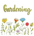 Original growing flowers Floral border with vector image