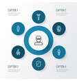 People outline icons set collection of man vector image