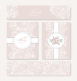 set invitation card with lace decoration vector image