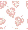 summer seamless pattern with pink monstera palm vector image