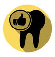 tooth sign with thumbs up symbol flat vector image