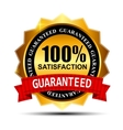 100 SATISFACTION guaranteed gold label with red vector image