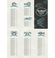 booklet menu with price list for seafood vector image vector image