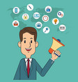digital marketing concept man business with vector image