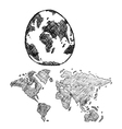 World Map Globe line vector image